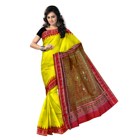 OSS5172: Yellow with Red Sambalpuri Pasapalli Silk Saree.