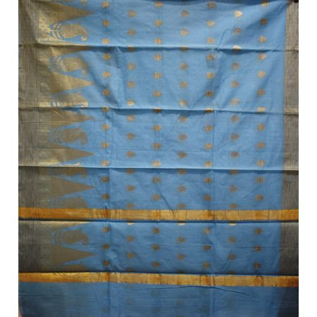 Sky Blue With Golden Handloom Temple Design Banaras cotton Silk Saree of Uttar Pradesh AJ001576
