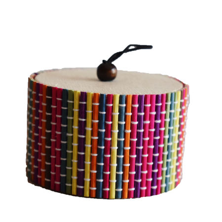 Multi Colour Round Shape Bamboo Jewellery Gift Box AJ001288