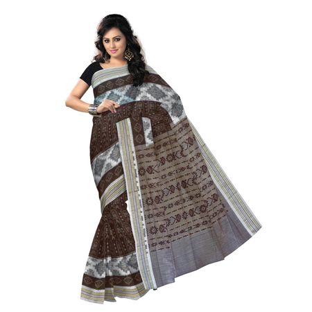 OSS7535: Traditional fish design brown handwoven cotton sari
