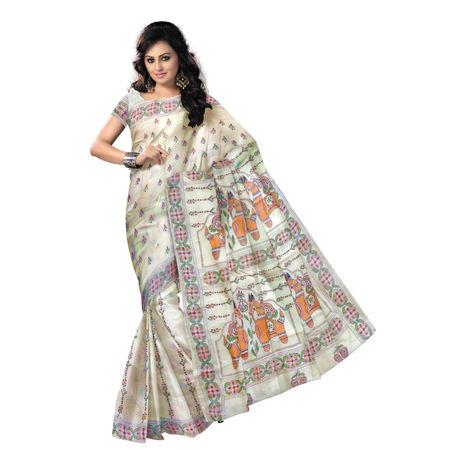 OSSWB9043: Horse Design Embroidered Tussar Silk Saree of West Bengal Handloom Silk Saree.