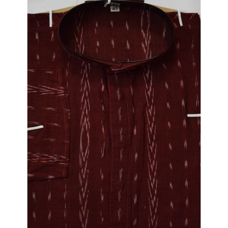 OSS8069: Traditional Ikat design Red-Maroon colour handwoven cotton kurta for ethnic party wear
