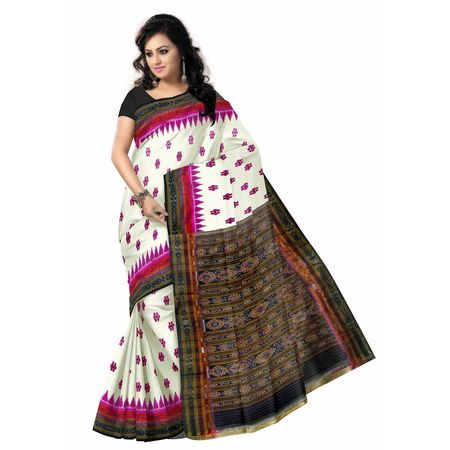OSS271: Silk double border Silk Saree by Nuapatna weavers with best handloom designs
