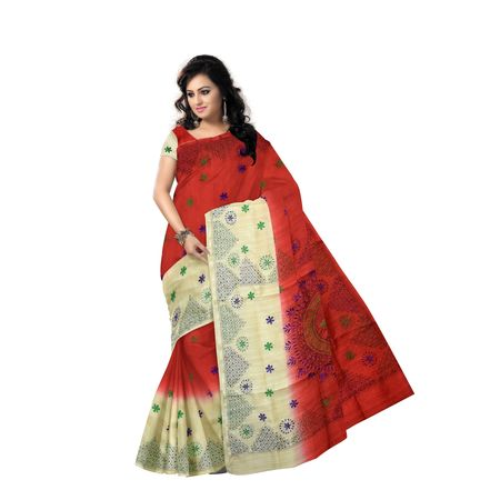 AJ000149: Ethnic Red Kantha Embroidery Work Silk Saree with Blouse Piece.