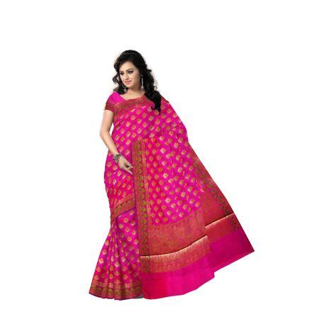 Magenta With Golden Handloom Buti Design Banaras cotton Silk Saree of Uttar Pradesh AJ001588