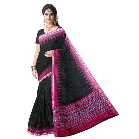 OSS220: Black color Pure handloom Cotton Saree of Odisha