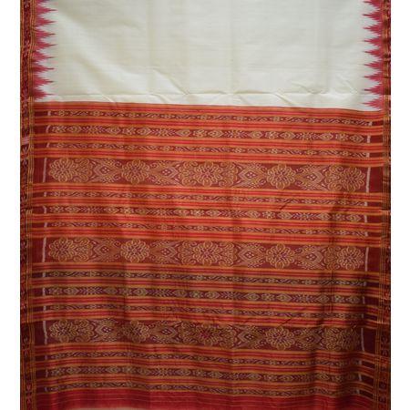 Plain Buti Design Tusser With Deep Orange Handloom Cotton Saree of Odisha, Nuapatana AJ001563