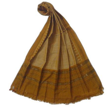 OSS166: Grey with Mustard color handloom cotton dupatta.