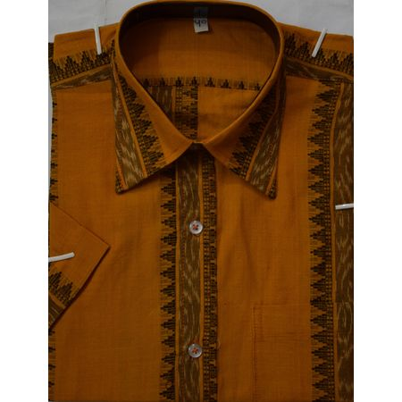 OSS8021: Beautiful Orange-Yellow Colour handmade Cotton Shirt