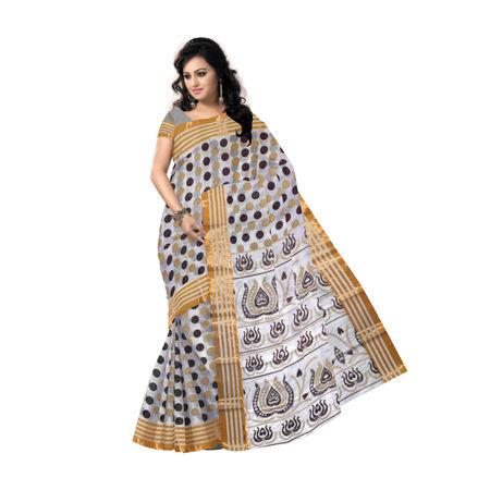 AJ000129: Handwoven Block Print Off White Kerela Kasavhu cotton saree