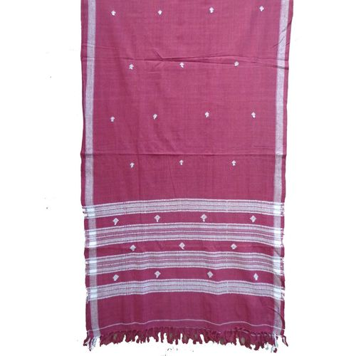 OSS303: Maroon color Kotpad Stole of koraput, odisha