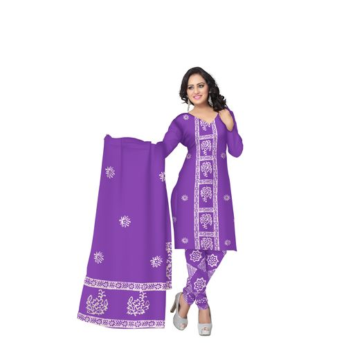 Light purple with white Batik Printed Handloom Cotton Dress Material of West Bengal AJ001470