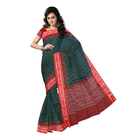 OSS463: Green With Red handloom cotton sarees.