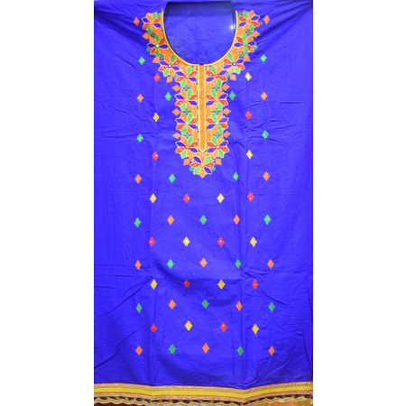 Navy Blue With Orange Bandhani design Handloom Cotton silk Dress Material of Banaras AJ001788