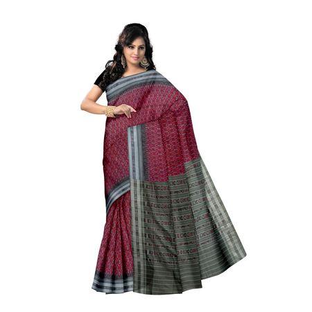 OSS7546: Maroon color kaniara kadha design handloom Cotton saree