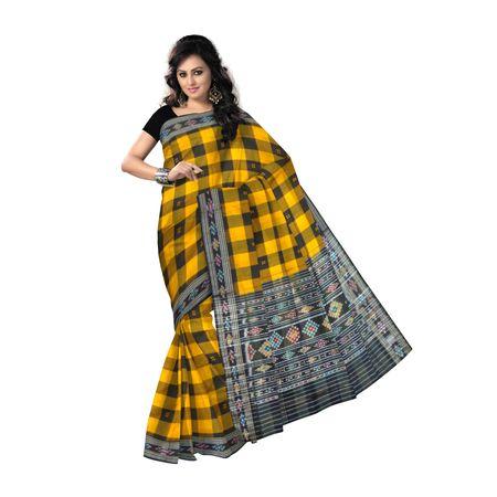 OSS9133: Orange-Black Check Design Cotton Sari for you
