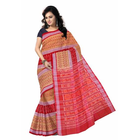 OSS7544: Light Brown Handloom cotton sarees of odisha