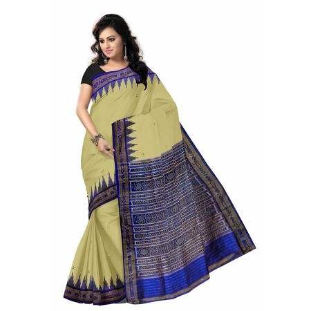OSS024: Tusser color Indian handwoven Silk Sari.