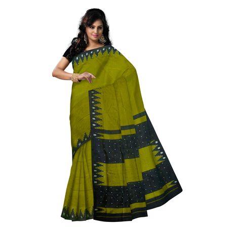 OSS5160: Olive Green berhampuri Handloom Silk Saree.