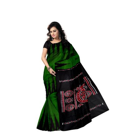 Check Design Forest Green With Black Handloom Cotton Saree of Odisha, Nuapatana AJ001560