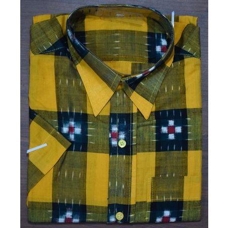 Handloom Sambalpuri Check Pasapalli Cotton Half Shirt in orange AJ001192