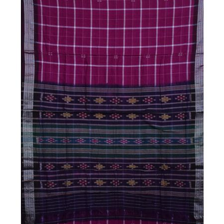 AJ001153: Magenta with Deep Coffee Handloom Ikat Cotton Saree