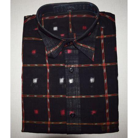 Handloom Sambalpuri Cotton Half Shirt in Black AJ001189 (Size- 44)