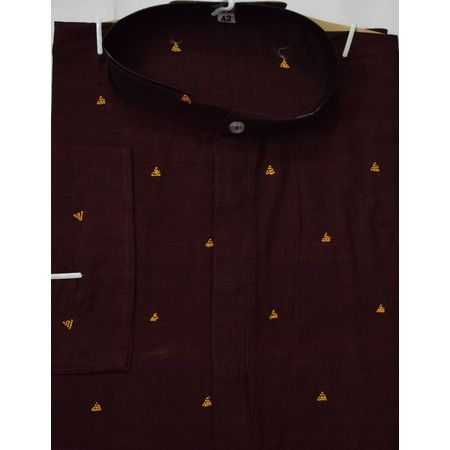 OSS609: Handwoven Coffee colour ready to wear Menswear Cotton Kurta