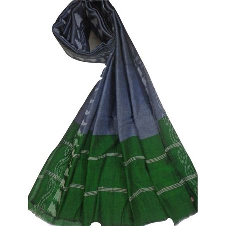 OSS164: Temple design Grey with Green cotton DUPATTA