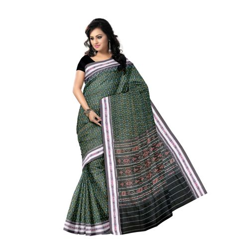 OSS7510: Green color sambalpuri Cotton handloom sari for festival wear