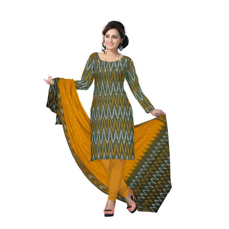 OSSTG6241: Unstitched Women' s Handwoven Light Olive Green with Orange Pochampally cotton Dress Material with same Dupatta