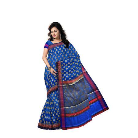 French Blue With Golden Handloom Buti Design Banaras cotton Silk Saree of Uttar Pradesh AJ001587