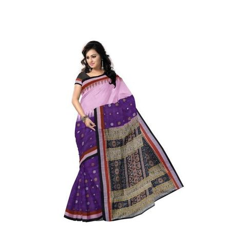 Purple with Pink Handloom Design Cotton saree with Blousepiece Of Odisha Sambalpur AJ001218