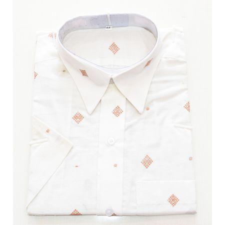 White With Multi Handloom Half Shirt for Men Made in Odisha Sambalpur AJ001776