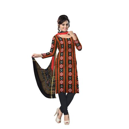 AJ000132: Exclusive Handloom Traditional Red and Black Pasapalli Ikat Cotton Dress Material.