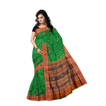OSS854: Ikat design green bridal wear silk saree