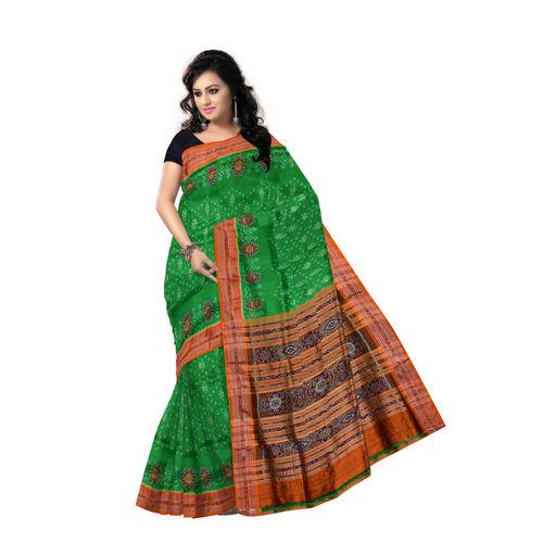 OSS854: Ikat design green bridal wear silk saree