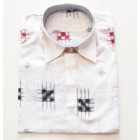 White With Multi Handloom Half Shirt for Men Made in Odisha Sambalpur AJ001726