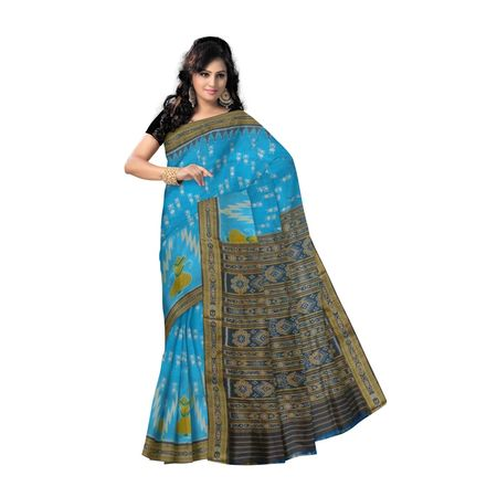 OSS5129: Sky Blue color Sambalpuri handwoven pata saree for gift