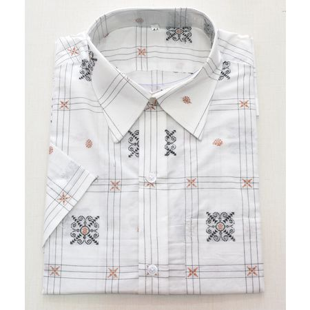 White With Multi Handloom Half Shirt for Men Made in Odisha Sambalpur AJ001762