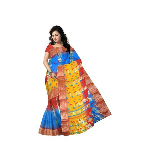 Yellow, Red With Sky Blue Handloom Tant Banarasi Cotton Saree Of West Bengal AJ001463