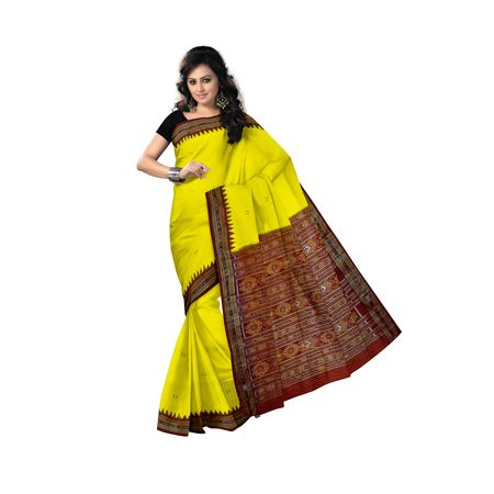 OSS5163: Yellow with Maroon Berhampuri Handwoven Silk Saree.