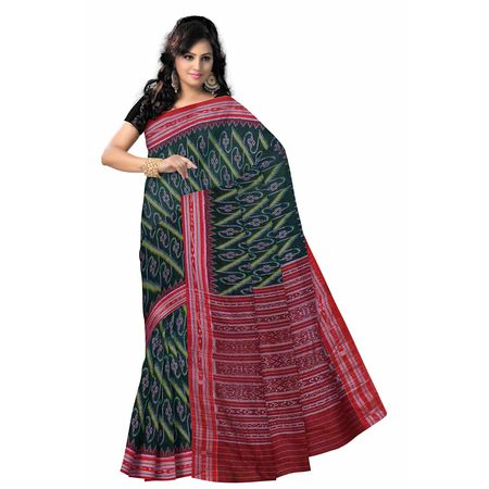 OSS414: Green color traditional handwoven Cotton Sari