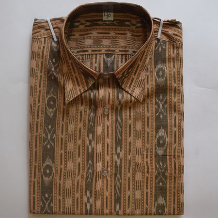 Exclusive Sandalwood Handwoven Sambalpuri Ikat Cotton Gents Half Shirt AJ002125