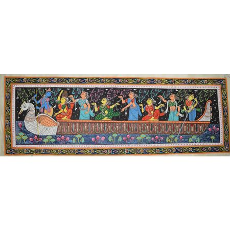OHP022: Patachitra Painting of Rasaleela of Lord Krishna.