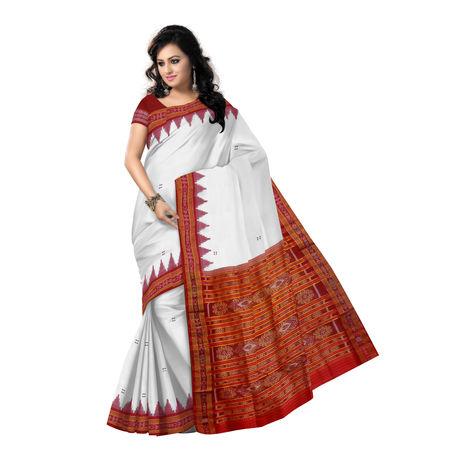 OSS5156: White and Red color beautiful Khandua Design handloom Silk Saree