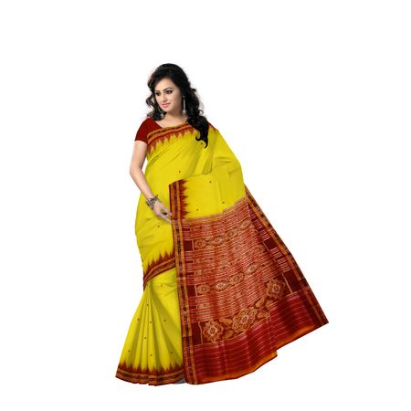 Buti Design Light Yellow With Red Handloom silk saree of Odisha Nuapatna AJ001569