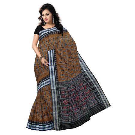 OSS7469: Traditional Brown handwoben Cotton saree for office wear