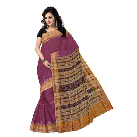 Maroon color nuapatna odisha handloom silk saree for festival wear AJODI000235
