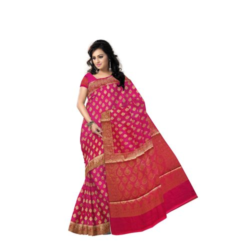 Magenta With Golden Handloom Buti Design Banaras cotton Silk Saree of Uttar Pradesh AJ001586